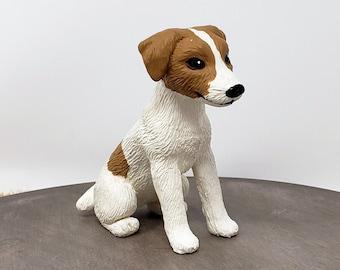 Jack Russel Terrier Sculpture - Realistic Dog Figurine - Jack Russell Terrier Wedding Cake Topper - Dog Pet Memorial Keepsake