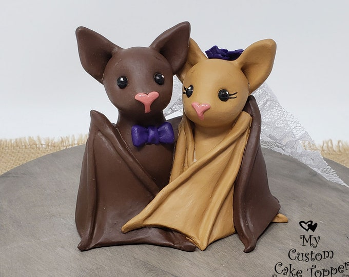 Bat Wedding Cake Topper Figurine - Bride and Groom Black Bats Sculpture - Halloween Theme Anniversary Gift - Pick Accessories and Colors