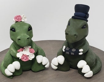 Cartoon T-Rex  Bride and Groom Dinosaur Wedding Cake Topper - Prehistoric Wedding - Anniversary Gift - Engagement Present