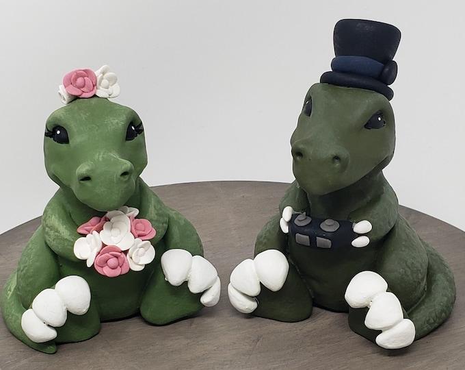 Cartoon T-Rex  Bride and Groom Dinosaur Wedding Cake Topper - Prehistoric Wedding - Anniversary Gift - Engagement Present