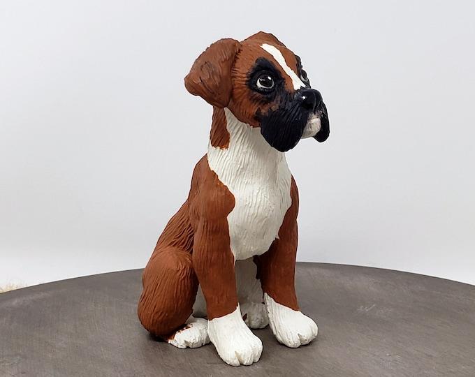 Boxer Dog Sculpture - Realistic Dog Figurine - Pet Portrait - Boxer Dog Wedding Cake Topper
