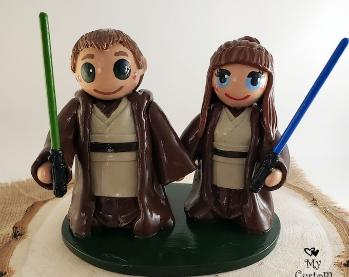 Jedi Cake Topper - Star Wars Wedding Cake Topper Figurine - Hollywood Character Sci Fi Engagement Present - Themed Celebration