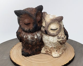 Owl Cake Topper - Realistic Great Horned Owls Bird of Prey Wedding Figurine - Engagement present Centerpiece - Anniversary Gift