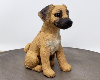 Dog Puggle Sculpture - Realistic Dog Figurine - Puggle Wedding Cake Topper - Pet Portrait Keepsake