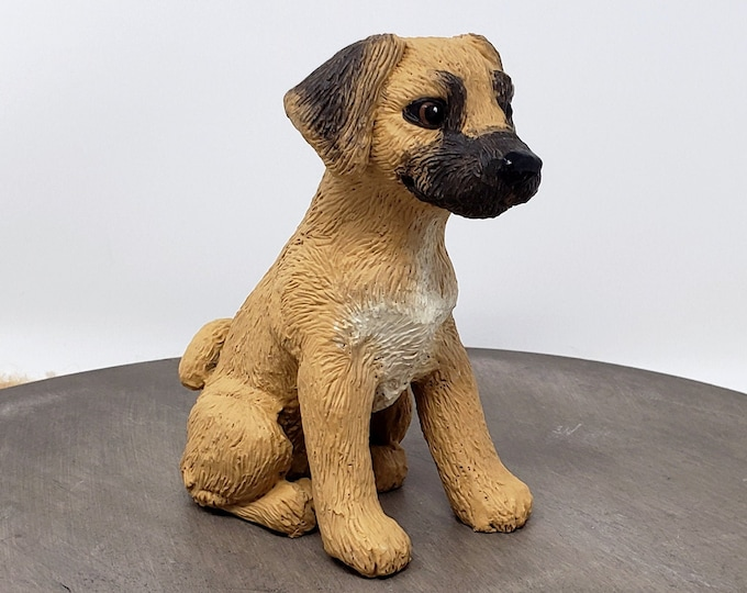 Dog Puggle Sculpture - Realistic Dog Figurine - Puggle Wedding Cake Topper