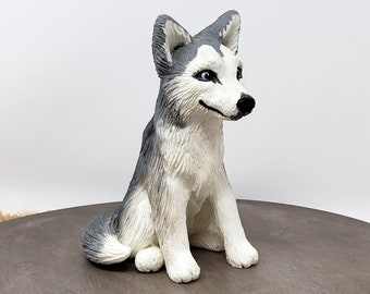 Dog Husky Sculpture - Realistic Dog Figurine -  Husky Wedding Cake Topper - Pet Portrait - Pick your colors