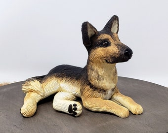 German Shepherd Sculpture - Realistic Dog Figurine - Pet Portrait - K9 - German Shepherd Wedding Cake Topper