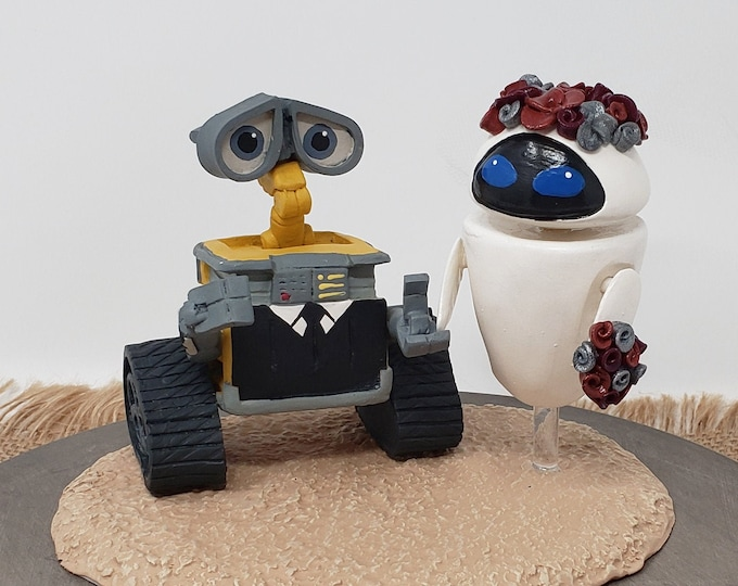 Wall-E and Eve Wedding Cake Topper Figurine - Hollywood Themed Sculpture - Movie Character Anniversary Gift