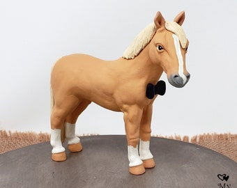 Horse Figurine - Realistic Ranch Farm Animal - Handmade Male Stallion Horse Sculpture - Birthday Cake Topper - Desk Decoration - Palomino