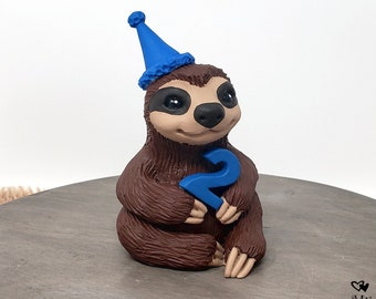 Sloth Birthday Topper - Sloth Figurine Cake Topper - Animal Sculpture - Party Decor - Child Gift