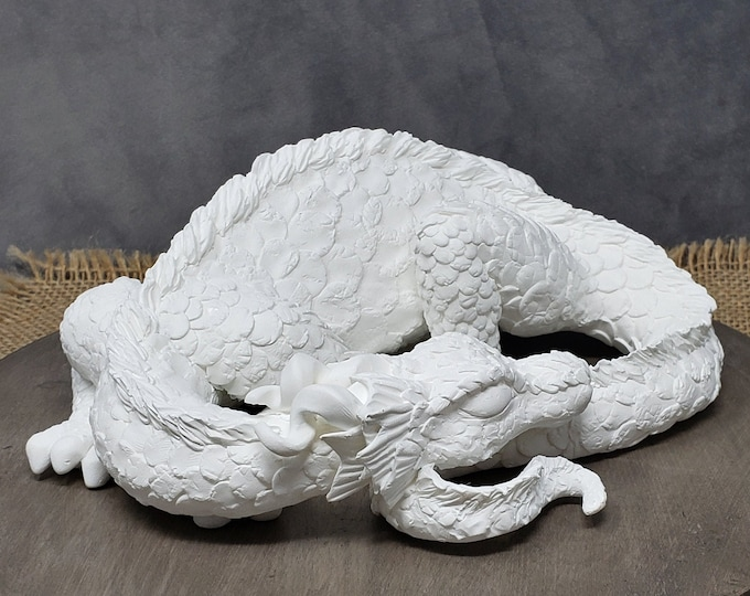 Ready to Paint Dragon Sculpture - DIY - Realistic Sleeping Dragon Cake Topper Birthday Gift