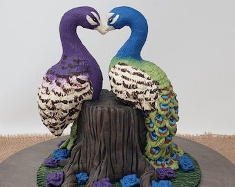 Peacocks Cake Topper - Love Birds Heart Wedding Figurine - Cuddling Colorful Bird on a Stump - Pick Your Colors and Flowers