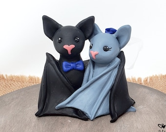 Bat Wedding Cake Topper Figurine - Black Bats Sculpture - Halloween Theme Anniversary Gift - Pick Accessories and Colors