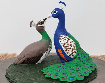Peacock Cake Topper - Peacocks Forming a Heart Wedding Figurine - Stump - Anniversary Sculpture - Engagement Gift