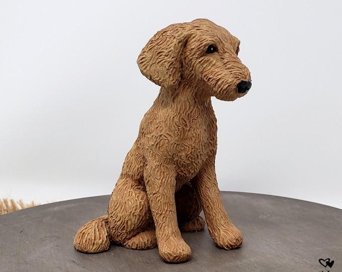 Dog Labradoodle Sculpture - Realistic Dog Pet Portrait Figurine - Labradoodle Wedding Cake Topper