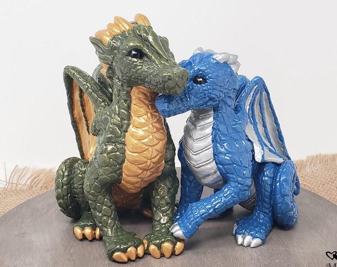 Cuddling Dragons Wedding Cake Topper - Realistic Dragon Bride and Groom