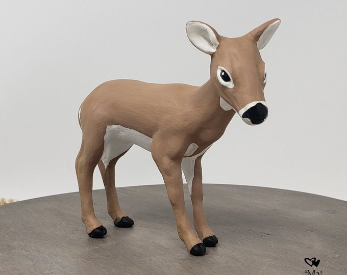 Deer Figurine - Realistic Wild Animal Sculpture - White Tail Doe - Hunting - Farm Themed Engagement Party - Christmas Gift