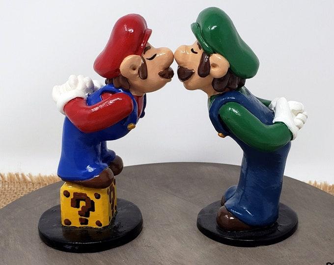 Luigi and Mario LGBTQ Wedding Cake Topper - Prince and Prince Super Mario - Custom Gaming Wedding Cake Topper - Gay Gamer Anniversary Gift