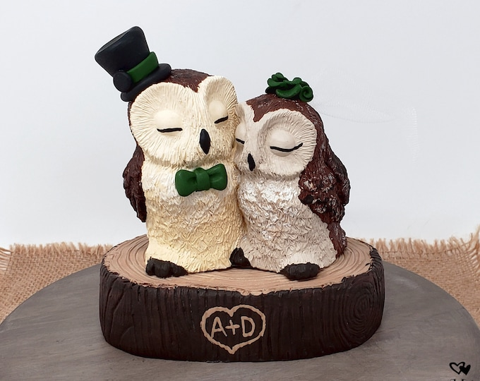 Barn Owl Wedding Cake Topper - Custom on a Stump - Birds of Prey Sculpture - Wild Bird Figurine - Anniversary Gift