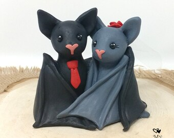 Bat Cake Topper Themed Wedding Figurine - Black Bats Sculpture - Halloween Theme Anniversary Gift - Pick Accessories and Colors
