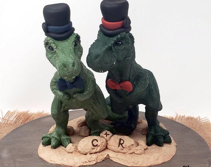 Mr and Mr. T-Rex Dinosaur Wedding Cake Topper Figurine - Tyrannosaurus Rex Sculpture - Realistic Groom and Groom T-Rex