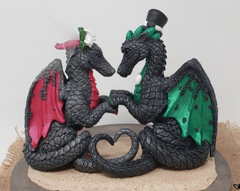Heart Dragons Wedding Cake Topper - Realistic Dragon Bride and Groom