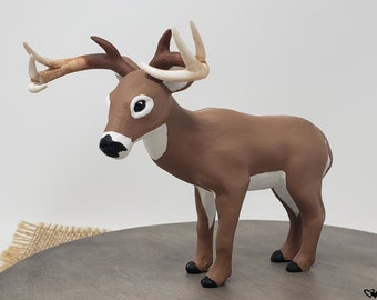 Deer Figurine - Realistic Wild Animal Sculpture - White Tail Buck - Antlers - Hunting - Farm Themed Engagement Party - Christmas Gift