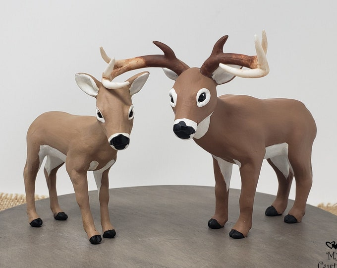 Deer Cake Topper - Realistic Wild Animal Wedding Sculpture - White Tail Doe - Hunting - Farm Themed Engagement Party - Christmas Gift