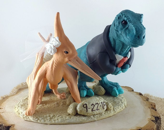 T-Rex and Pteranodon Dinosaur Cake Topper - Realistic Bride and Groom Tyrannosaurus Rex Pterodactyl