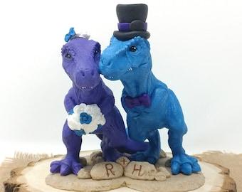 T-Rex Dinosaur Wedding Cake Topper Figurine - Prehistoric Wedding - Tyrannosaurus Rex Sculpture - Realistic Bride and Groom T-Rex