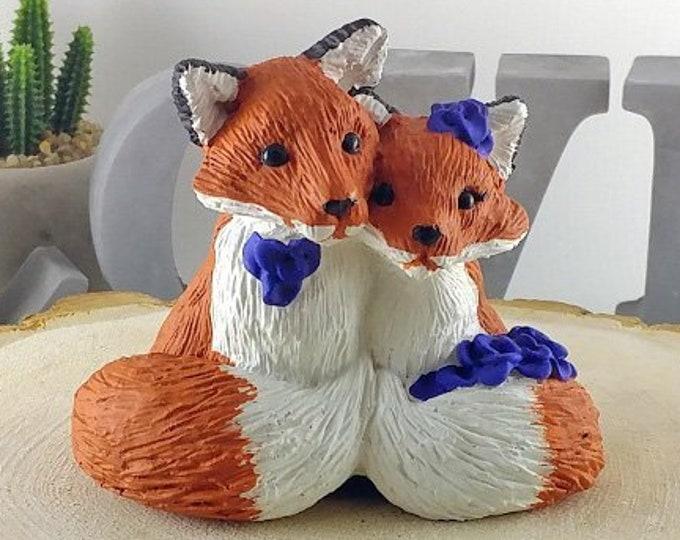 Fox Wedding Cake Topper - Cuddling