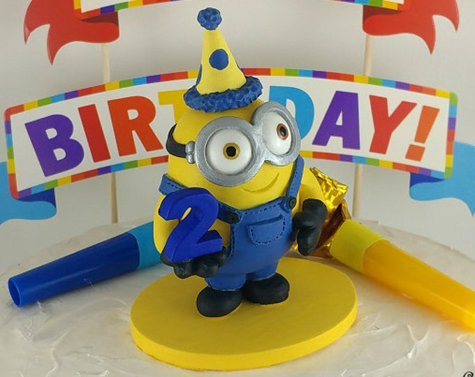 Minion Birthday Topper Figurine - Happy birthday minion sculpture - Hollywood Movie Character Themed Party - Kids Birthday