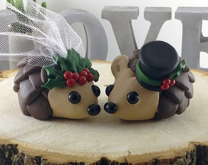 Hedgehogs Wedding Cake Topper with Holly