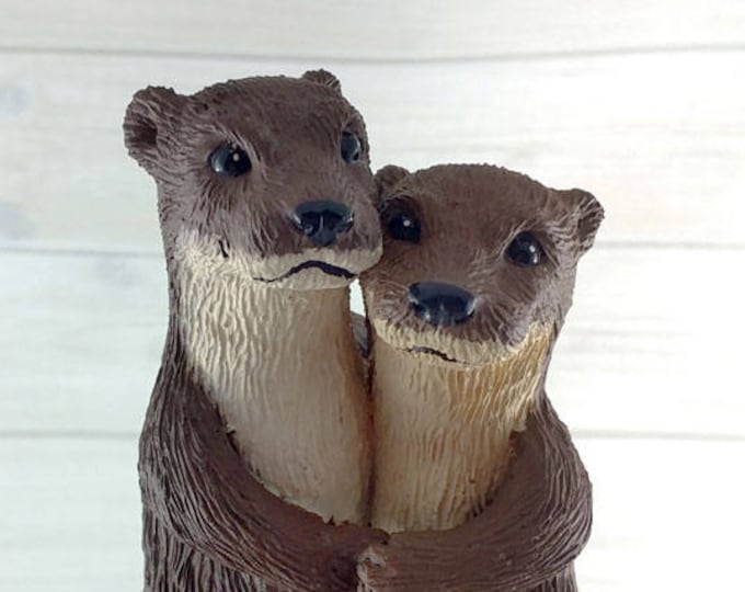 Otters Wedding Cake Topper - Realistic Cuddling River Otter