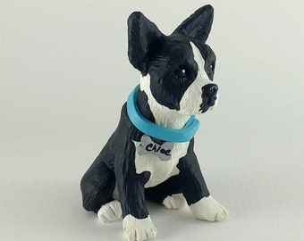 Boston Terrier Sculpture - Realistic Dog Figurine - Boston Terrier Wedding Cake Topper Pet Portrait