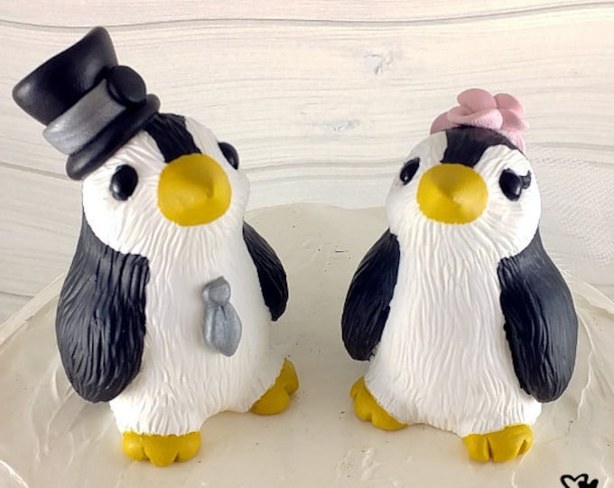 Penguin Wedding Cake Topper - Cute Penguins - Pick your colors and accessories