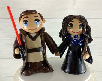 Star Wars Bride and Groom Wedding Cake Topper - Harry Potter Ravenclaw House and Jedi