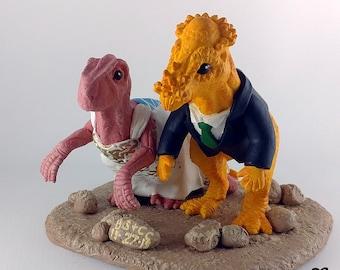 Raptor and Pachycephalosaurus Dinosaur Wedding Cake Topper - Realistic Bride and Groom Prehistoric - Anniversary Gift Keepsake