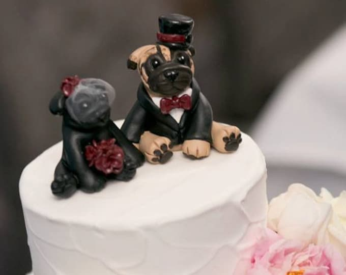 Pug Dog Wedding Toppers
