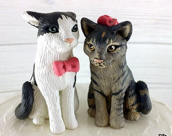 Cat Wedding Cake Topper Custom - Cat Sculpture Pair