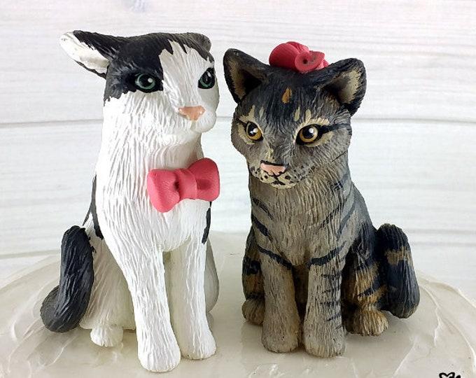 Cat Wedding Cake Topper Custom - Cat Sculpture Pair