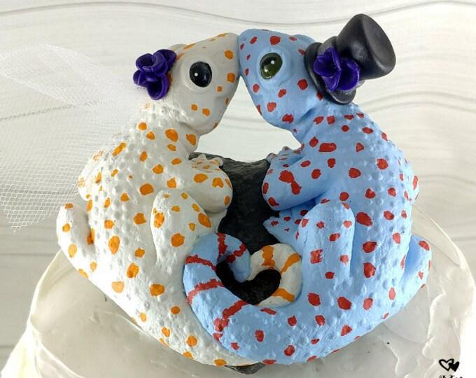 Geckos Lizard Wedding Cake Topper