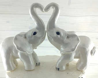Elephant Love Wedding Cake Topper - Golden Standing forming a heart