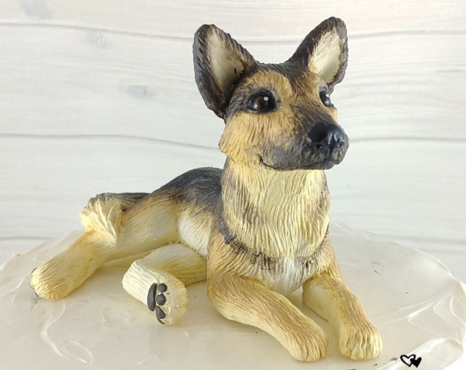 Dog German Shepherd Sculpture - Realistic Dog Figurine - German Shepherd Wedding Cake Topper
