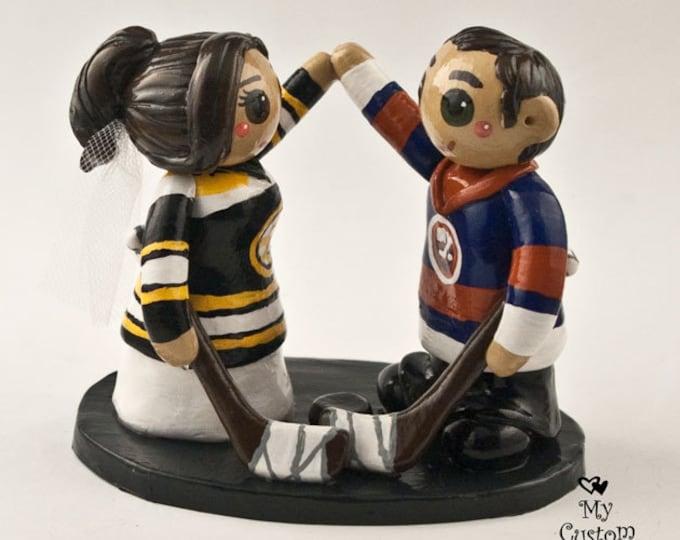 Hockey Wedding Cake Topper Bride and Groom