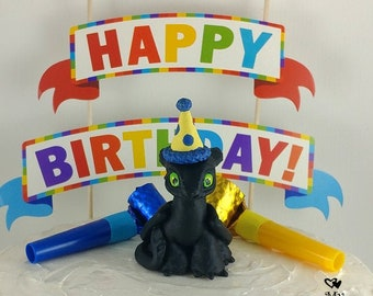 Toothless Baby Nightfury Birthday Cake Topper