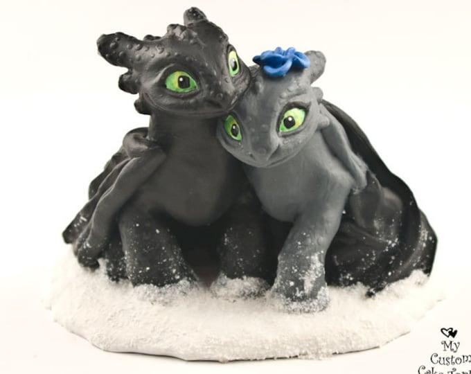 Toothless Nightfuries Wedding Cake Topper - Dragon Bride and Groom