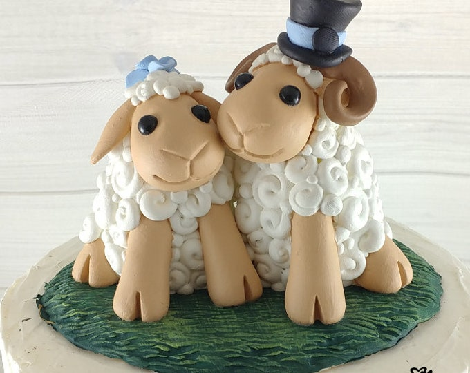 Sheep Wedding Cake Topper - Choose your Accessories and Colors