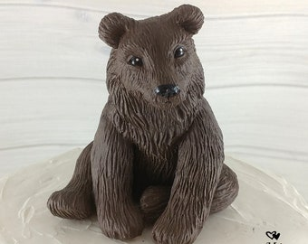 Realistic Bear Sculpture - Bear Figurine - Bear Cake Topper - Brown Bear Grizzly Bear Black Bear