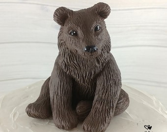 Bear Sculpture - Realistic Bear Figurine - Bear Cake Topper - Brown Bear Grizzly Bear Black Bear
